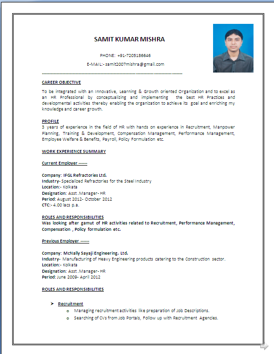 A BEAUTYFUL RESUME SAMPLE IN WORD DOC MBA HR with 4 Years Experiance  Resume Formats