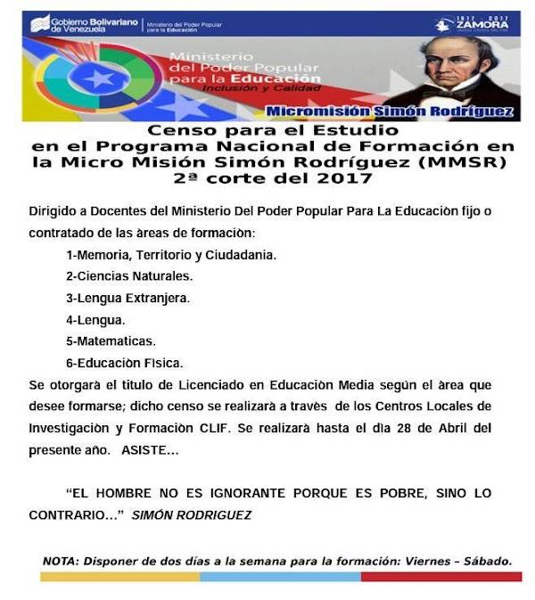 Clifpm Herminio Leon Colmenarez estará realizando CENSO en el PROGRAMA DE FORMACIÓN MICRO MISION SIMON RODRIGUEZ