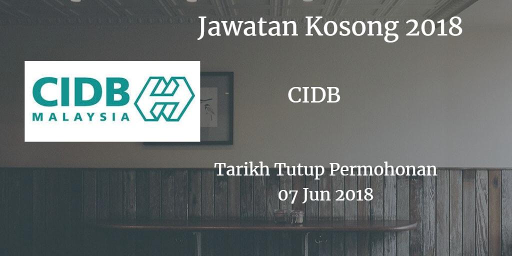 Jawatan Kosong CIDB MALAYSIA Negeri Johor 07 Jun 2018