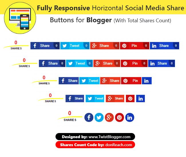 Responsive Social Media Share Buttons for Blogger