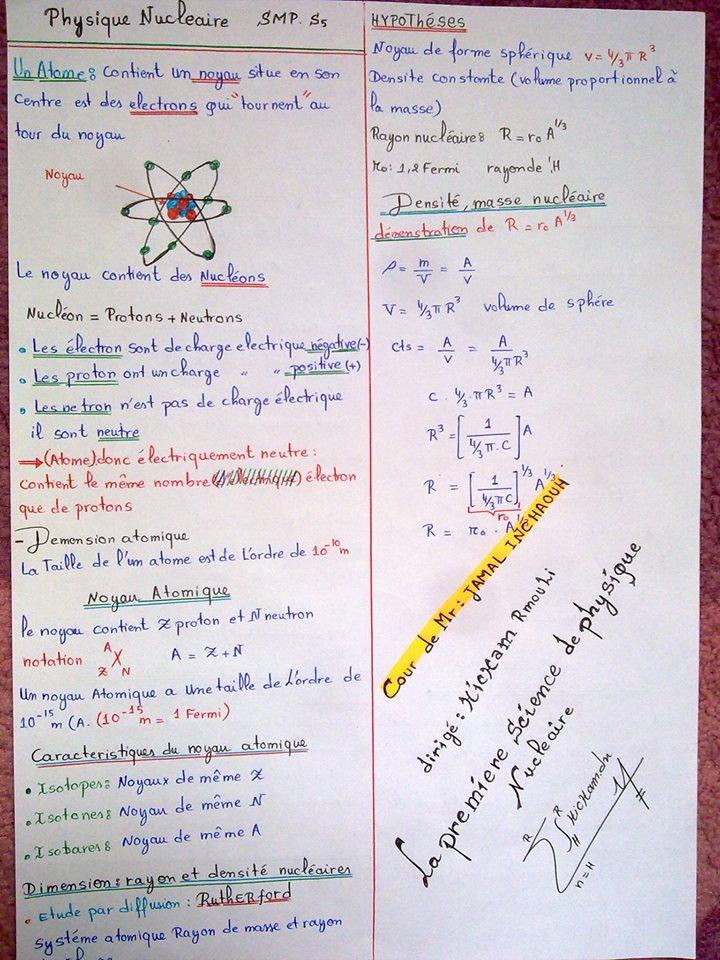 r u00e9sume de la physique nucl u00e9aire smp s5