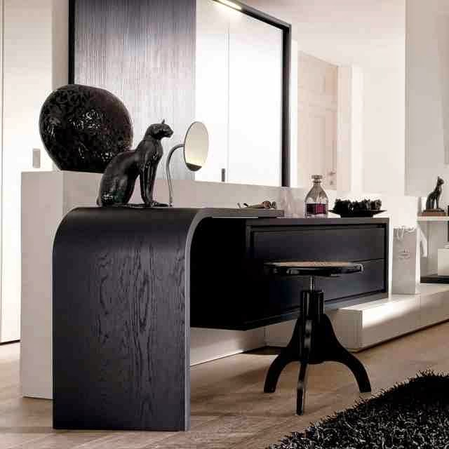 Modern dressing table designs with mirrors in black colors - Modern black dressing table ...
