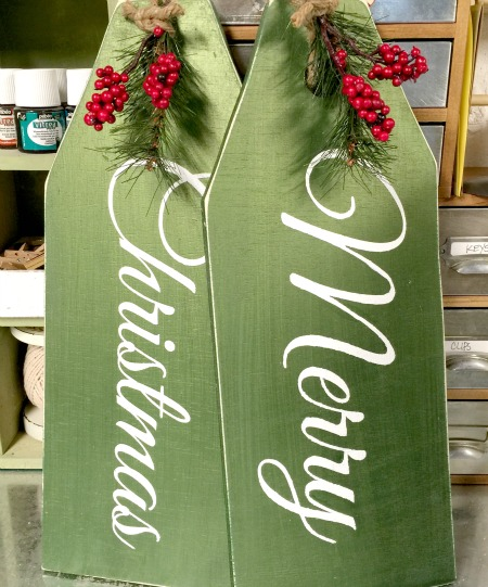 Green Merry Christmas Door Tags