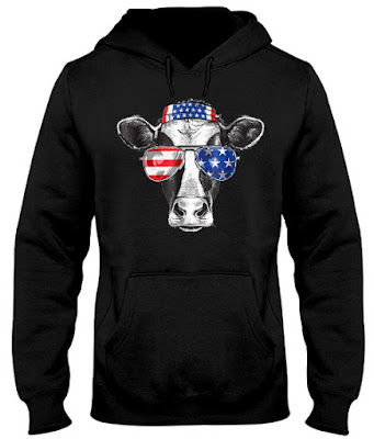 Patriot Cow 4th of July 2018 American Flag Hoodie