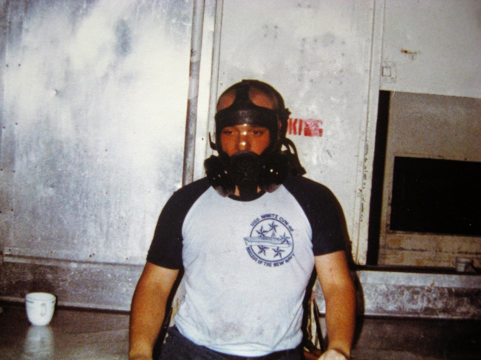 Billy Scire in his gas mask USS Nimitz 1982/83