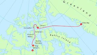 Mapa de la ruta de la expedición de Franklin