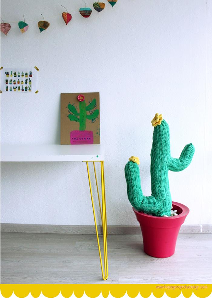 costura con niños: cactus