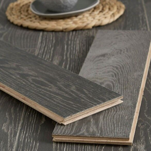 Dark grey wood flooring slats