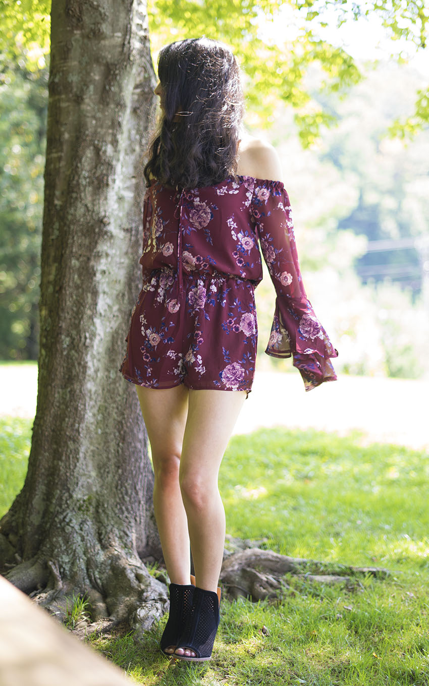 off the shoulder floral romper outfit, lucky brand larise booties, cute summer outfits