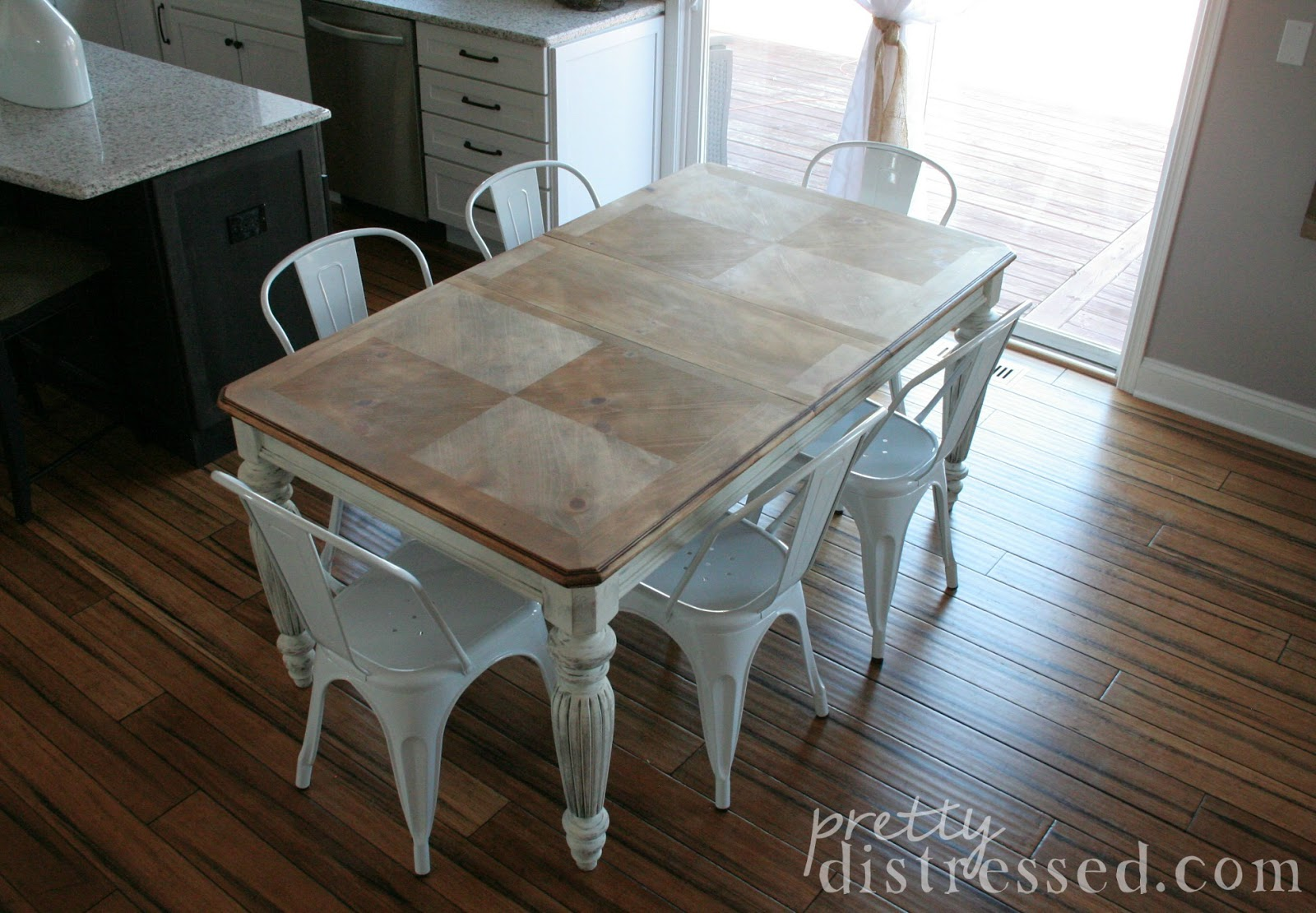 White Wood Kitchen Table Soapstone Counters Pretty Distressed The Making Of A Farmhouse