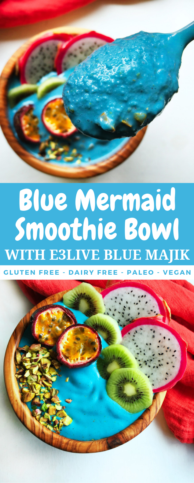 Blue Mermaid Smoothie Bowl with E3Live Blue Majik #healthydiet #detox