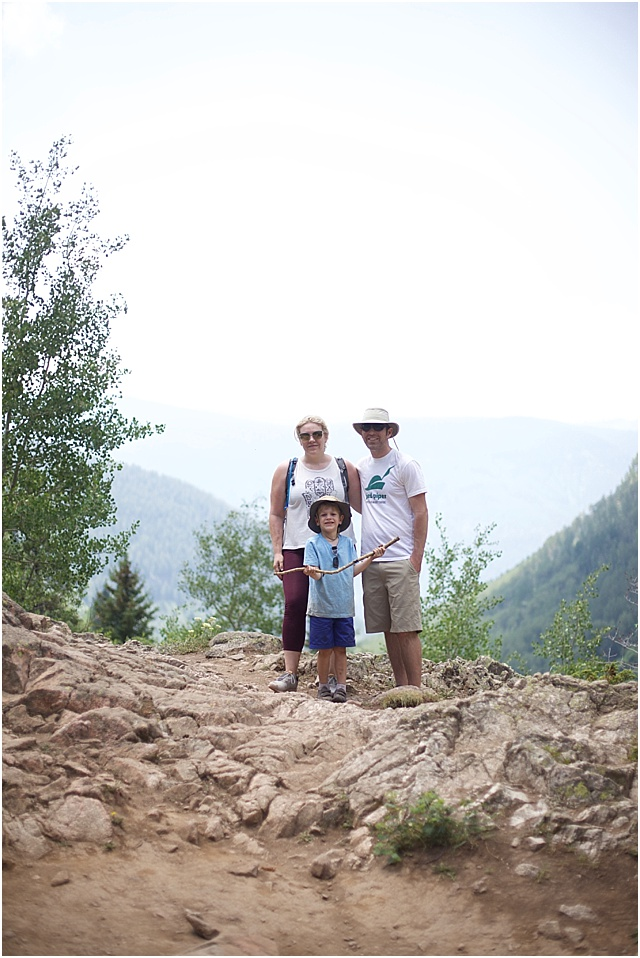 Family hiking in Vail, Colorado