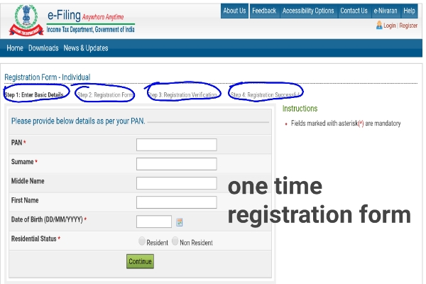 Registration for efiling of income tax return