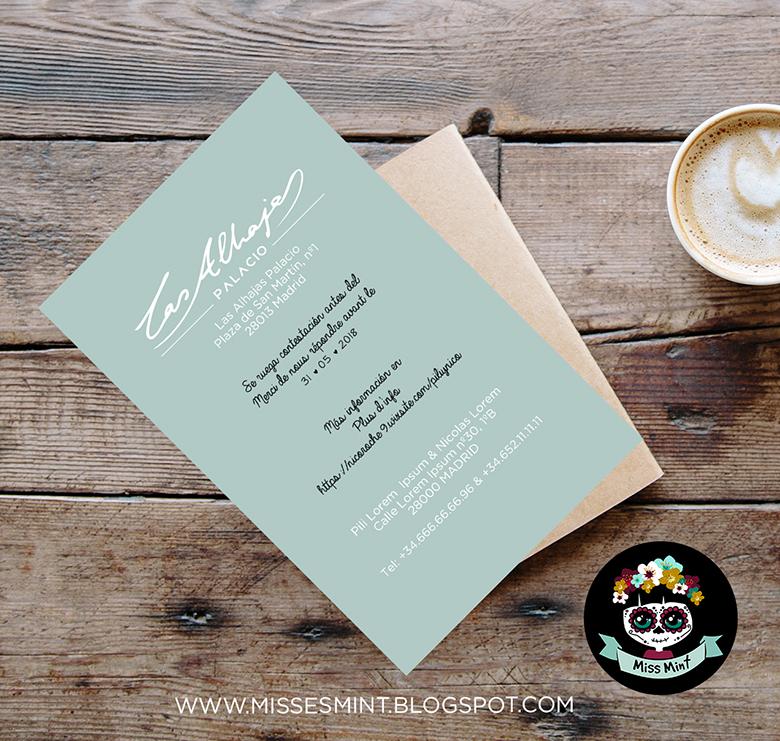 invitacion de boda ilustrada personalizada miss mint