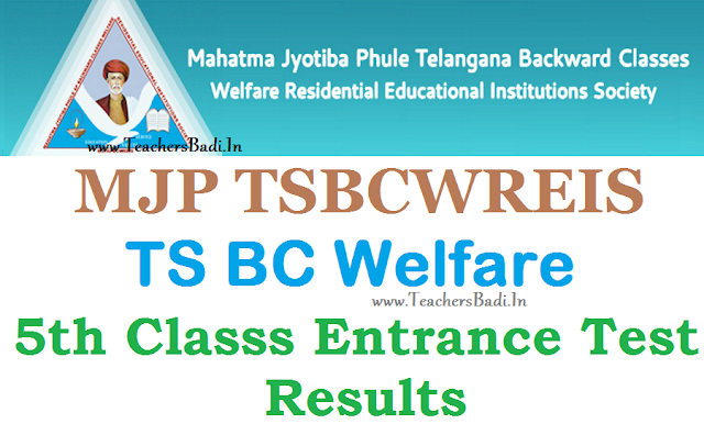 TS BC Welfare,5th Class Entrance Test,Results,mjptbcwreis results