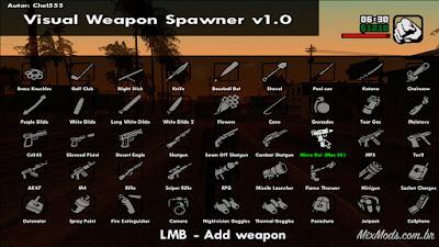 gta sa mod cleo visual weapon spawner gerar criar pegar armas menu mouse
