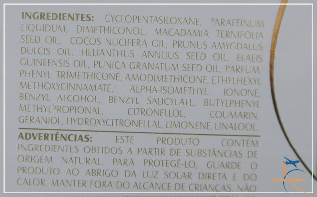 Ingredientes do Óleo de Tratamento Nutritivo Pure Care Dry Oil Dove