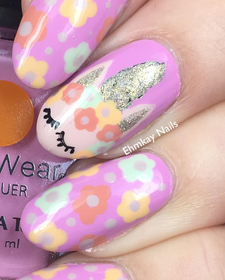 Unicorn Tipped Nail Art: Ehmkay Nails: Unicorn Nail Art With Lechat English Rose