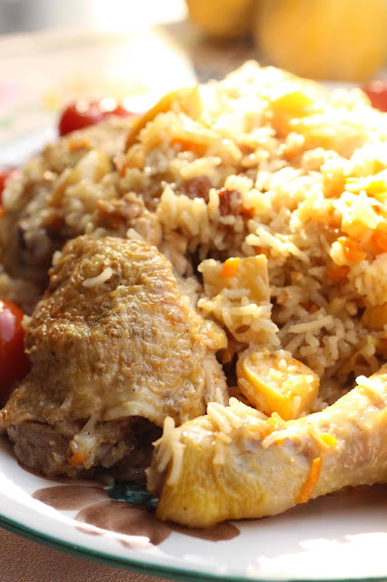 pilaf coings, carottes, poulet