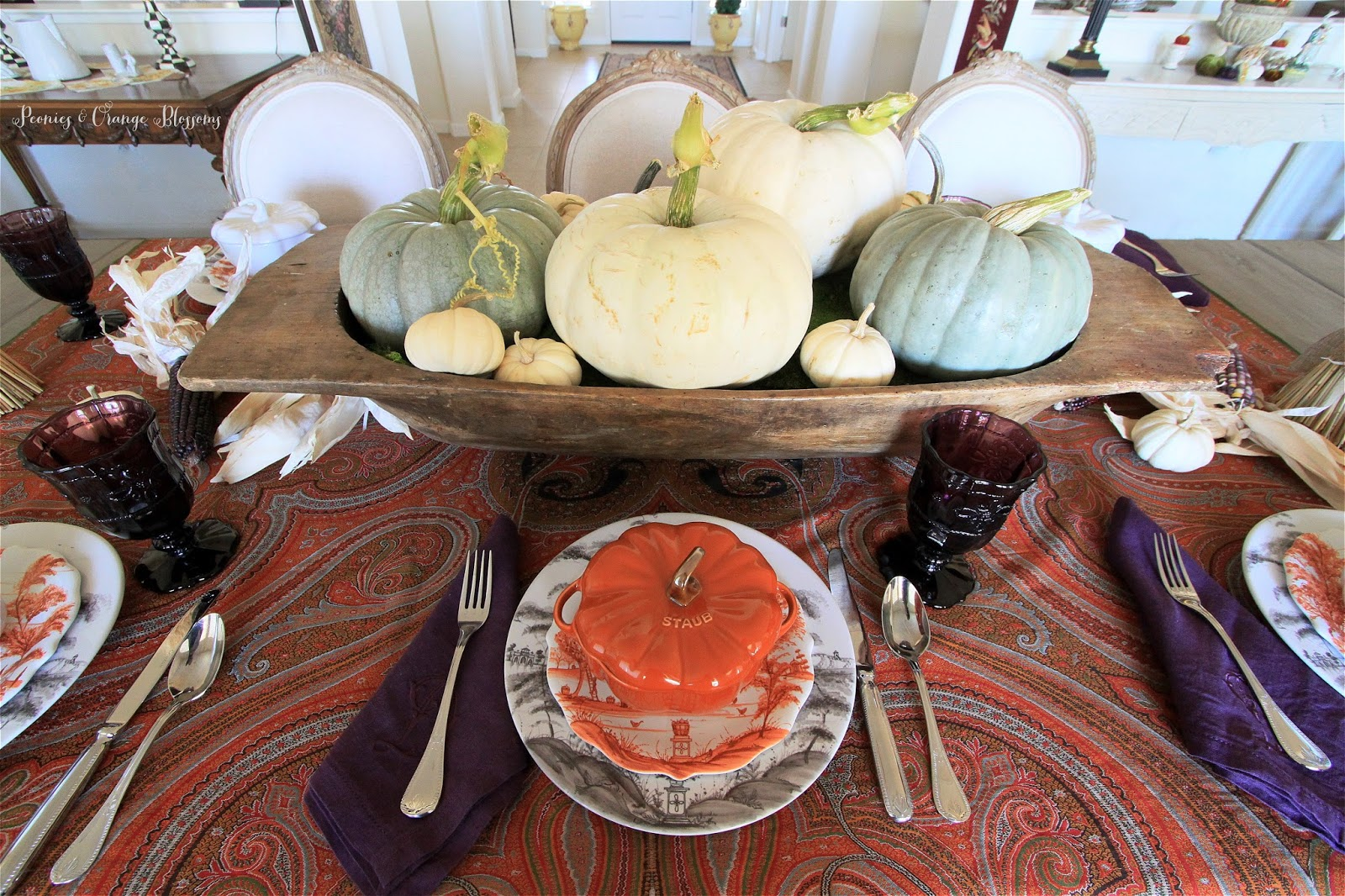 Peonies and orange blossoms fall table decor using for Fall table