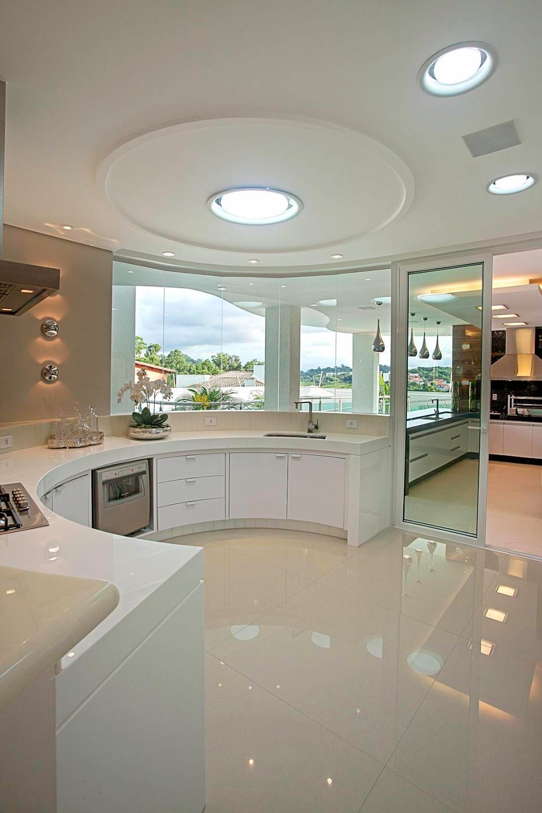 Construindo Minha Casa Clean: 45 Cozinhas Americanas com Ilha em Curva  #614933 1067 1600
