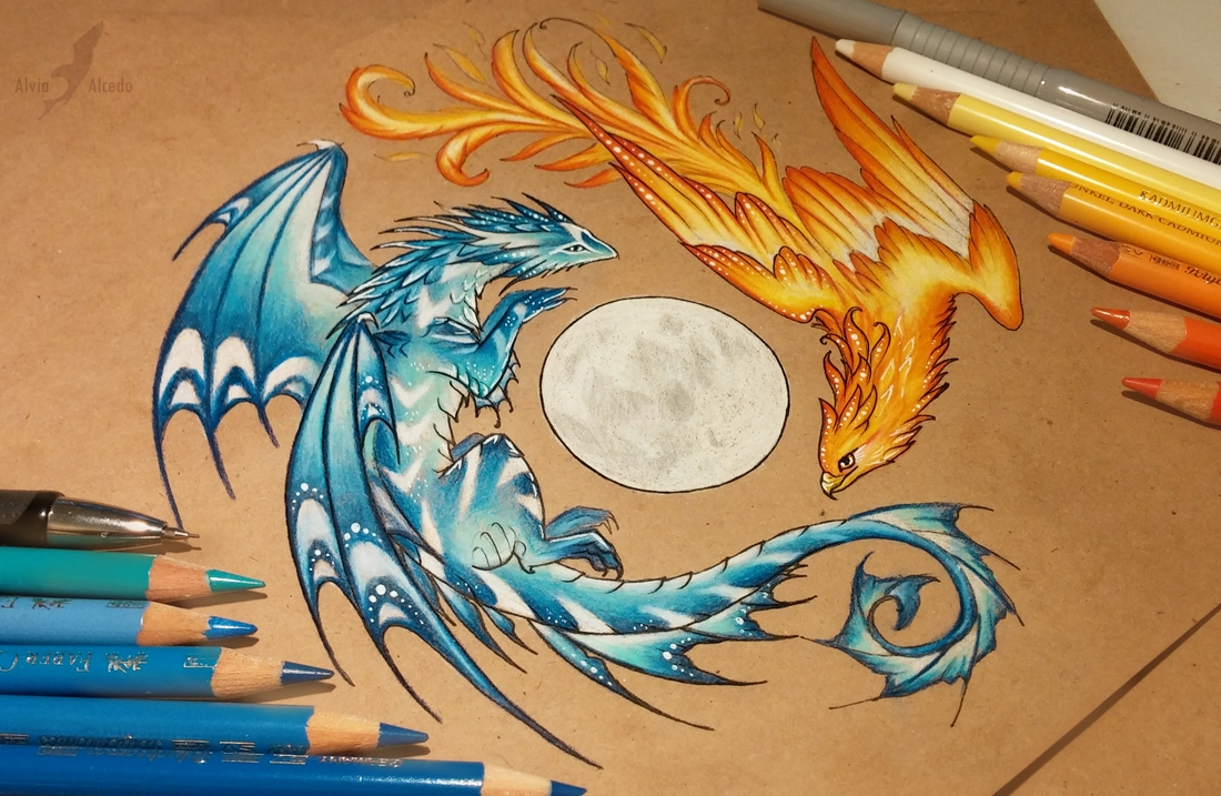 12-Dance-of-fire-and-water-Alvia-Alcedo-Dragon-and-other-Mythical-Fantasy-Drawings-www-designstack-co