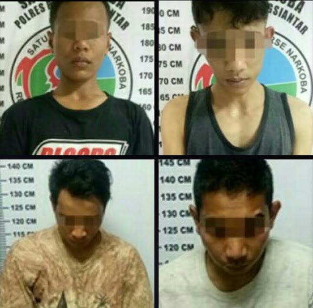 Keempat tersangka narkoba di Siantar.