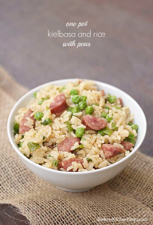 one pot kielbasa and rice with peas