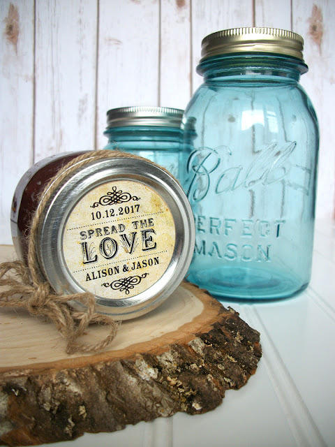 Spread the Love Wedding Favor Canning Jar Label