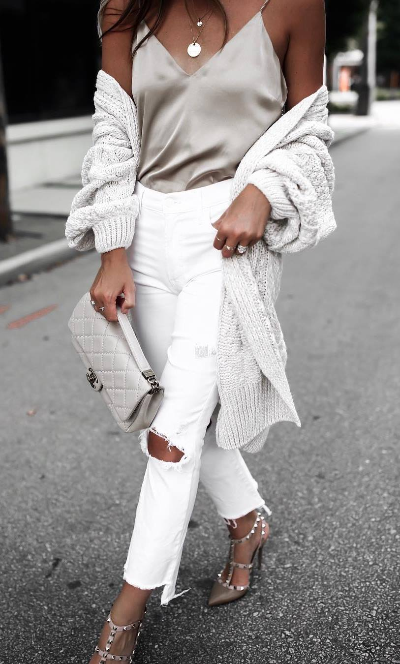 beautiful fall outfit_white knit cardigan + silk v-neck top + bag + ripped jeans + heels