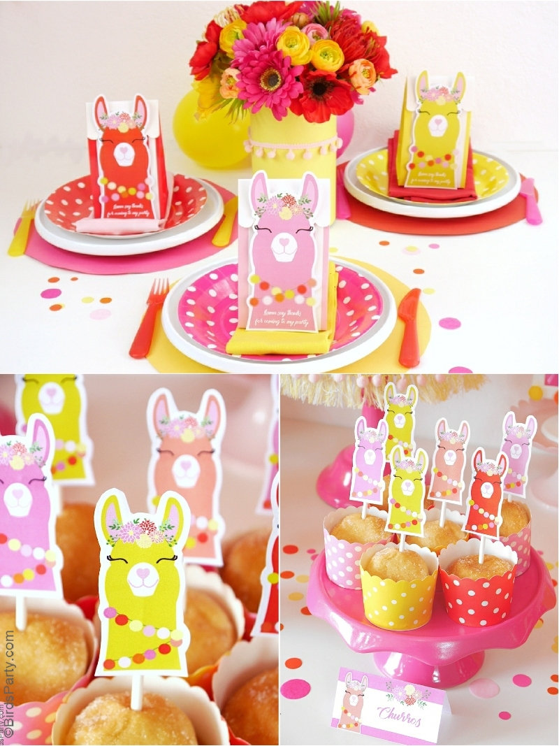 A Llama Fiesta Birthday Party - printable decorations, DIY craft ideas and recipes to help you style a llama party with ease at home! by BirdsParty.com @birdsparty #llama #llamaparty #llamabirthday #llamacake #llamapartyideas #llamafiesta