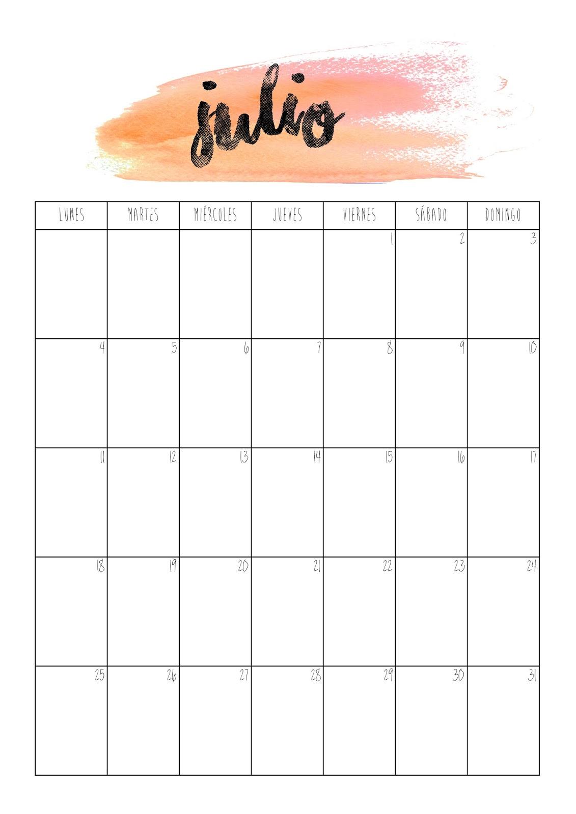 Julio Calendario.Con P De Papel Calendario Julio 2016