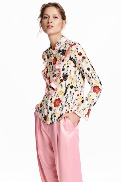 camicia con stampa a  fiori e volants