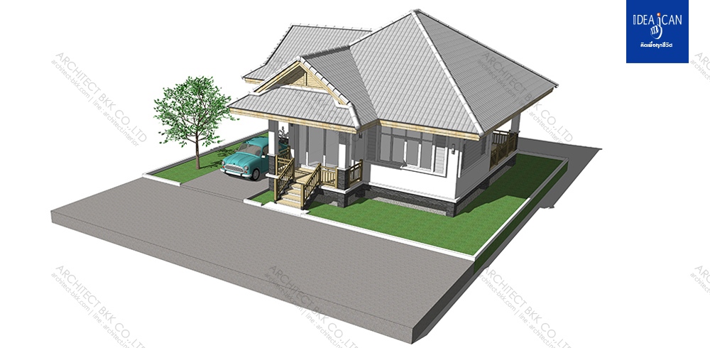 A small house that is enough for a small family is a practical choice for many budget-conscious buyers nowadays. Not only you can save in building a small house, but you can also save in buying a small home lot rather than a big one. Aside from this, a small house has a lot of benefits such as small space to clean, small maintening expenses, lower utility bills and so on!  So if you are looking for a small and comfortable house plan that is not only low-cost but also has that lovely, classic and timeless design, check this proposal from databkk.com in Thailand.  Check out the visualization of the project and floor plan. This project proves that the simplest and traditional solutions are often the best for housing problems.