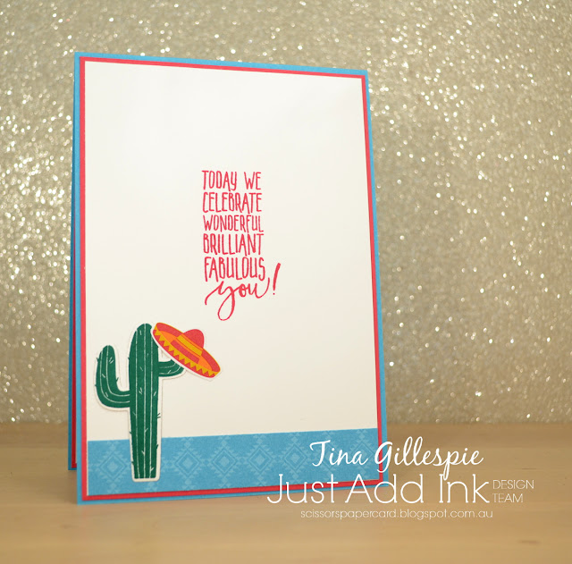 scissorspapercard, Stampin' Up!, Just Add Ink, Birthday Fiesta, Picture Perfect Birthday, Fiesta Time Framelits, Festive Birthday DSP