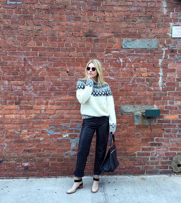 Heleneisfor, Fashion Over Reason, ThredUp blog MiuMiu leather pants, Icelandic Wool sweater, Céline Edge bag, Chloe Baobab boots