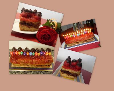Pastel de cumpleaños con fresones y chocolate.