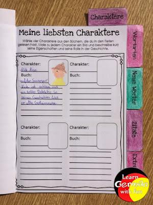 Grundschüler lesen Bücher und beschreiben kurz und knapp ihren Lieblingscharakter