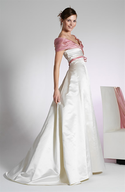 White Wedding Dresses Pink Accents 118