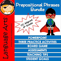 Prepositional Phrases Bundle Common Core Aligned for 4th Grade & Up