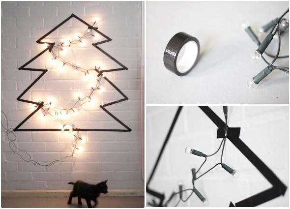 árbol navidad, árbol con cinta aislante, decoración navidad, manualidades