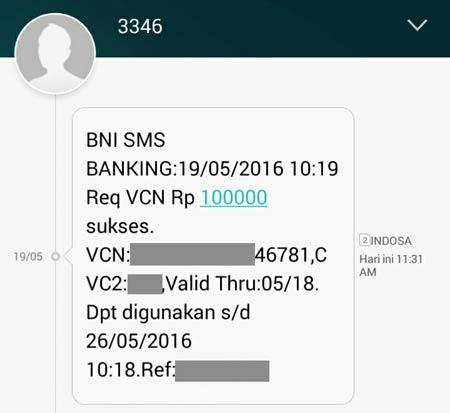 Detail Notifikasi Request VCN Debit Online BNI