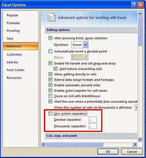 Cara Merubah Titik dan Koma Pada Ms.Office Excel