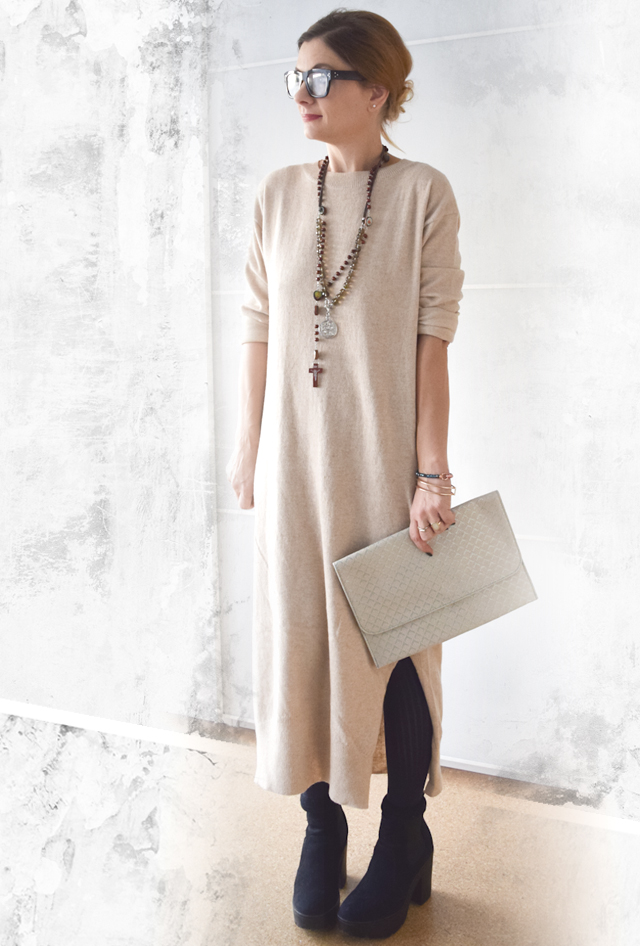 Strickkleid Oversize in Beige