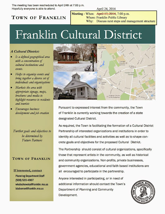 Franklin Downtown Partnership: Cultural Council Meeting to be April 24