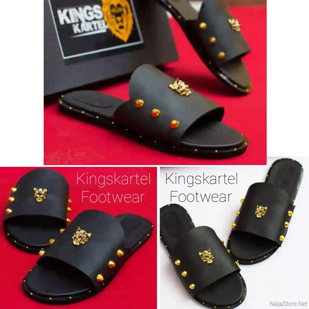 Kingskartel Sandals: Men's Panther Gold Strapless Slides-On Palm Slippers - Flat Open-Toe Casual Leather Footwear