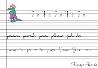 caderno de caligrafia letra J