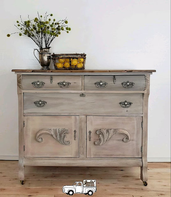 dresser makeover with bail pulls