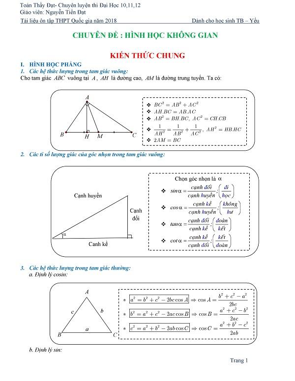 Chinh phục hình học không gian từ con số 0 - Thầy Nguyễn Tiến Đạt