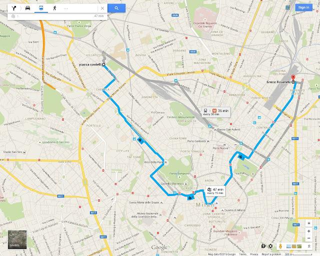 Milan's Tram 1 route map, go from Sempione district to Arco della Pace Arch of Peace, Cadorna, Largo Cairoli, Castello, Galleria Vittorio Emanuele II, MIlano Centrale, Rovoreto